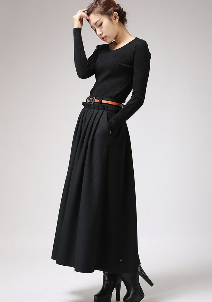 Black Wool Maxi Skirt - Long Pleated Full skirt with Side Hip Pockets & Ruffle Waist Detail (721) (79.00 USD) by xiaolizi