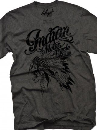 "Herren, ""Indian Motorcycle Club"" -T-Shirt von Fifty5 Clothing (Schwarzes Pigment)   – Fashion"
