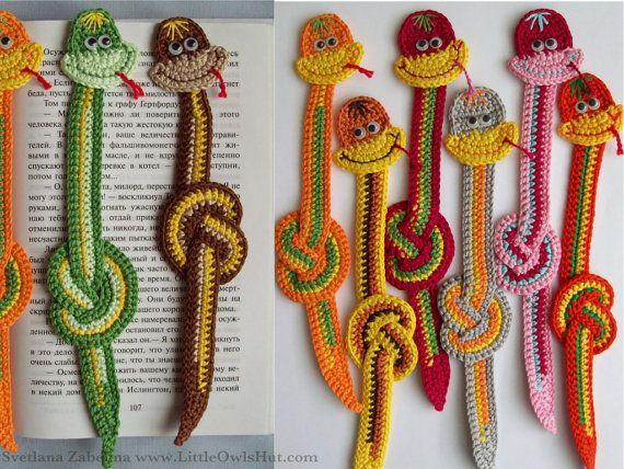 Süße Schlangen häkeln ....als Lesezeichen !!!