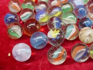 Vintage LOT 1950s PLAYING MARBLES Toy GAME Cateyes SWIRLS Solids