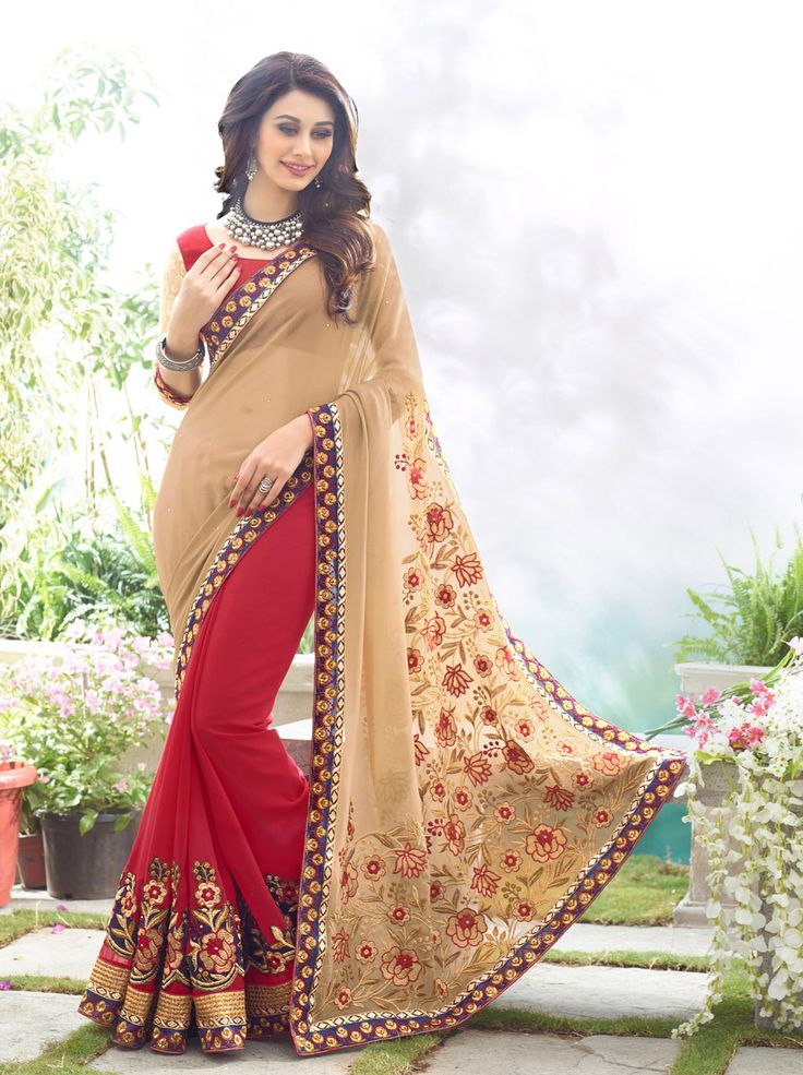 Beige Georgette Half and Half Saree With Blouse 66533