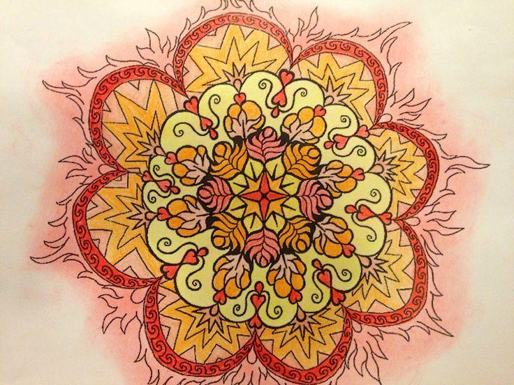Red & yellow pencil mandala