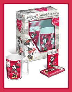 You get one very cute Minnie mug, and 2 x 15 g chocolate bars. This Disney Mug is what girls love, even big girls.