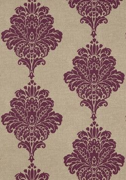 WALL PAPER !  Perfect colors, as I would use a 'flax tone' against more bold colors. (The source seemed to have similar fabric, but it does not have depth of surface dimension like in this.) I find this most definitely seems like unique and stylish woven flax with really nice damask pattern. Little bit modern, little bit old-world - or how people label it. I love the fact it is not over whelmed with the pattern - while it still is bold + large. I love damask patterns.  From Monterey…