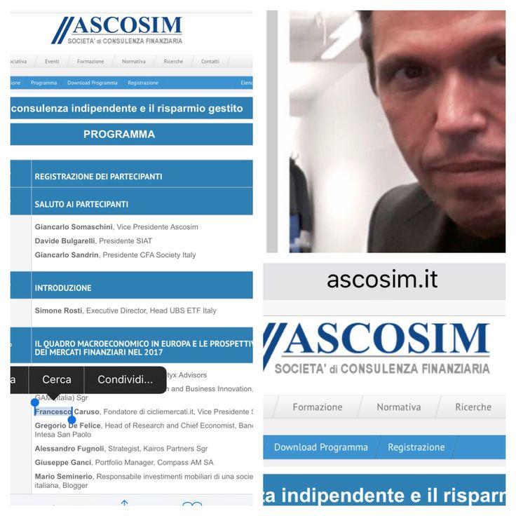 La #consulenzaindipendente e il #risparmiogestito Domani 1 febbraio in #Borsaitaliana #Milano #FrancescoCaruso  #finanza #mercatifinanziari #economia #bond #analisitecnica#cicliemercati #siat #promotorifinanziari #privatebanker #stocks   http://www.ascosim.it/AscosimV20_Evento20170201-LaConsulenzaIndipendenteEdIlRisparmioGestito_programma.asp