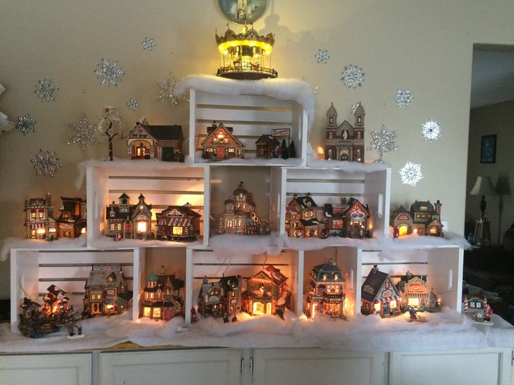 I've got an obsession with painted white Christmas village houses and they'd look awesome in the white crates!!