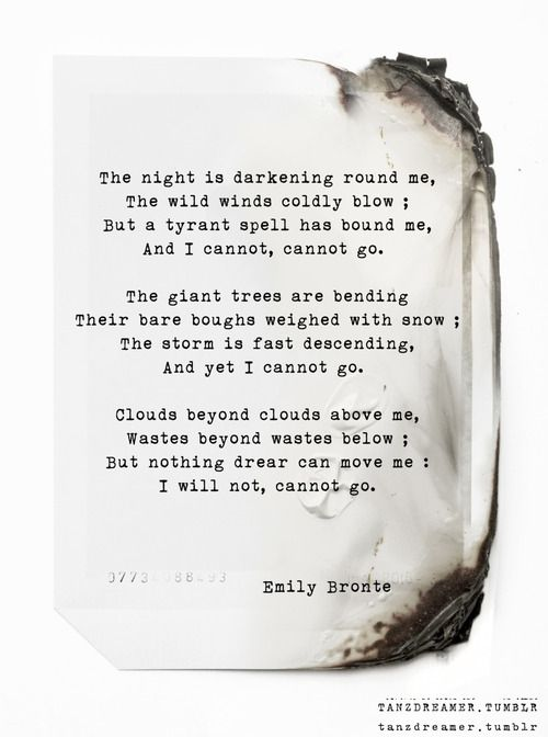 In addition to writing Wuthering Heights Emily also wrote poetry.   Example Picture: Spellbound