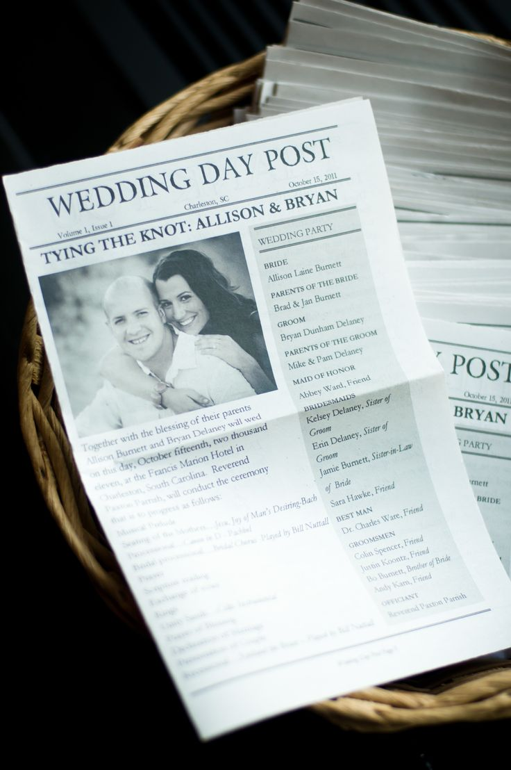 Newspaper Themed Programs I did for my wedding.  Didn't feel like paying to have these done so I bought packing paper, cut it to size, and there ya have it.  It was a fun way to do a program... had a word search of how well you knew the bride and groom, menu, good places to go after the reception (since most guests had never been to Charleston before).