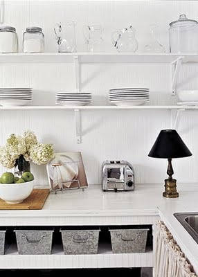 The Shabby Nest: Saturday~: Storage Solutions, Kitchens Style, Decor Ideas, Open Shelves, Metals Baskets, Kitchens Ideas, Country Home, Storage Ideas, Kitchens Storage
