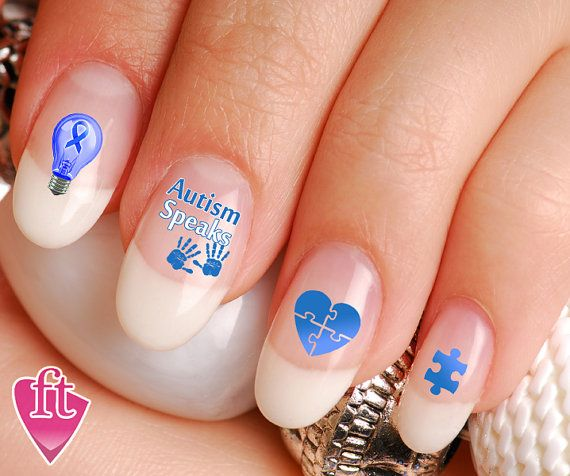 Autism Speaks Autism Awareness Nail Art Decal by TheFinderthings1