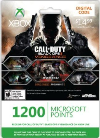 Xbox LIVE 1200 Microsoft Points for Call of Duty: Black Ops II Vengeance [Online Game Code] Multi City Games Amazing Discounts Your #1 Source for Video Games, Consoles & Accessories! Click On Pins For More Info! Multicitygames.com
