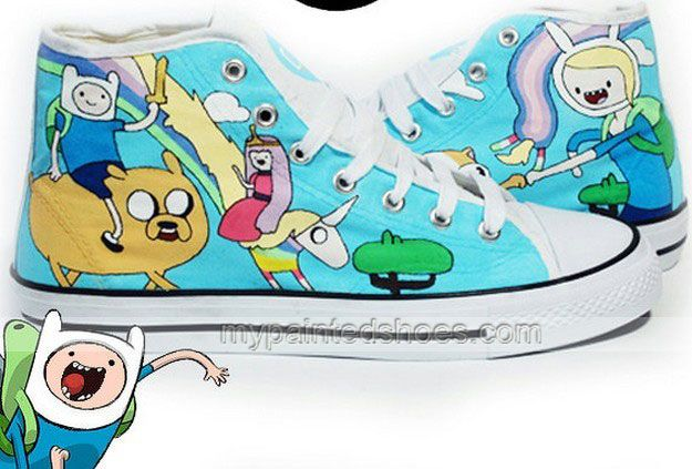 Adventure Time High Top Sneakers for Men and Women,High-top Painted Canvas Shoes