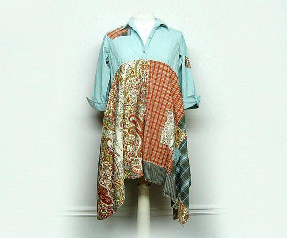 Long Boho Tunic, Artsy Clothing, Lagenlook Style, Hippie Tunic