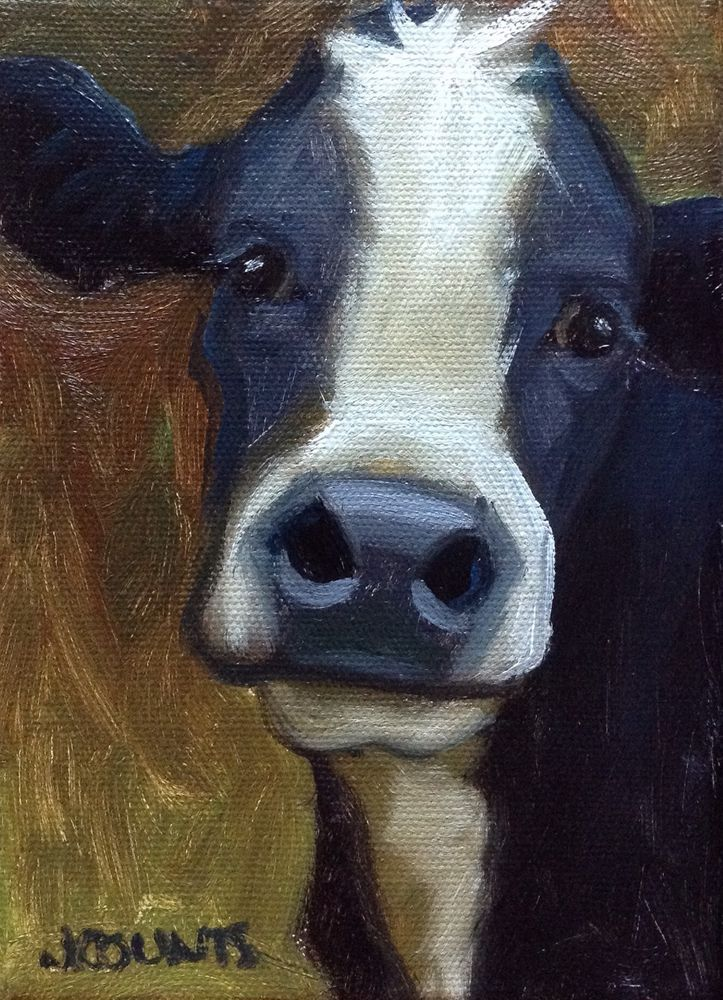 """COW BOVINE ART SMALL PAINTING HOME FARM RESTAURANT BARN DECOR """"Pluto"""" Oil on Canvas 5""""x7"""""""