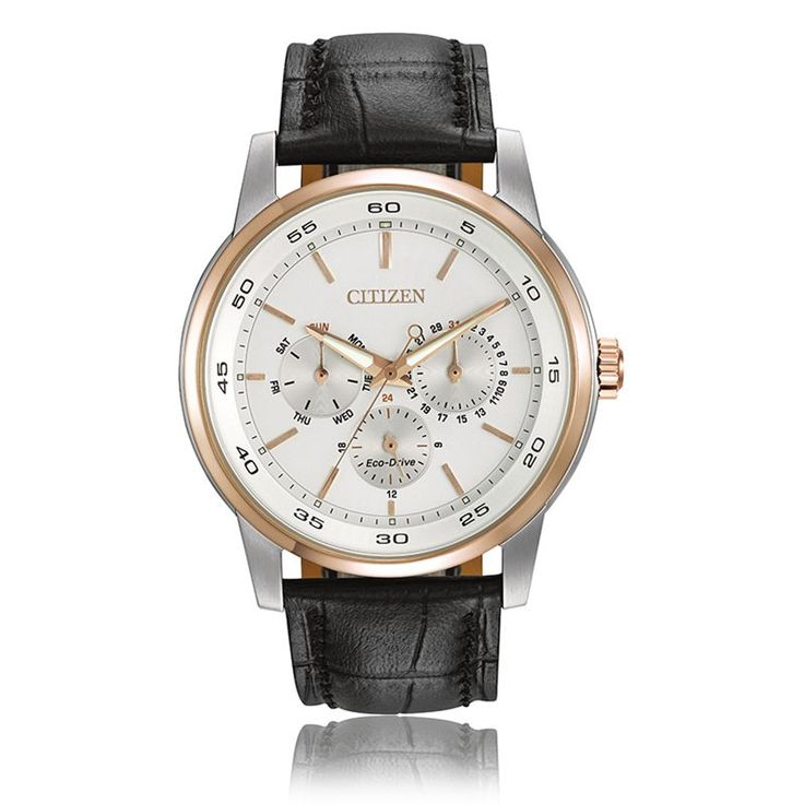 CITIZEN® Eco-Drive Men's Dress Watch Rose Gold & Stainless Steel Case