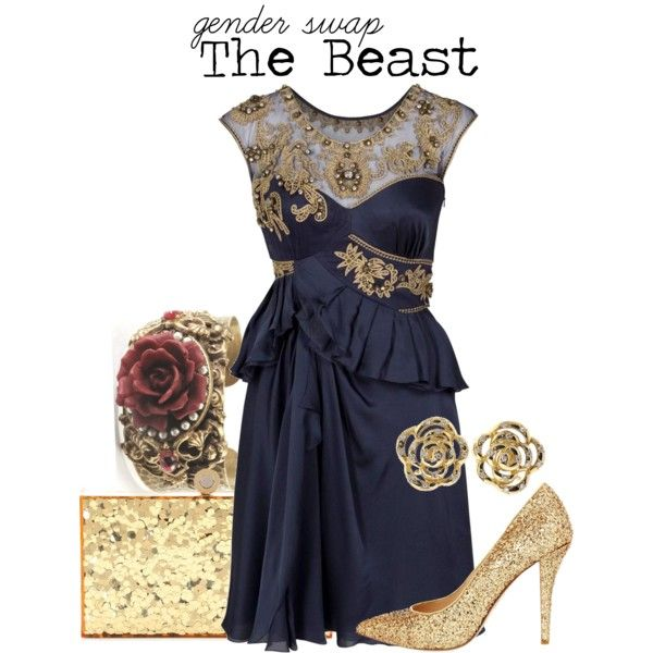 """I LOVE this outfit... have no clue where I'd wear it, but I LOVE the colors-- they remind me of my high school colors. This could be the perfect outfit for an adult homecoming/ evening reunion for CHS. llc """"The Beast"""" by charlizard on Polyvore"""