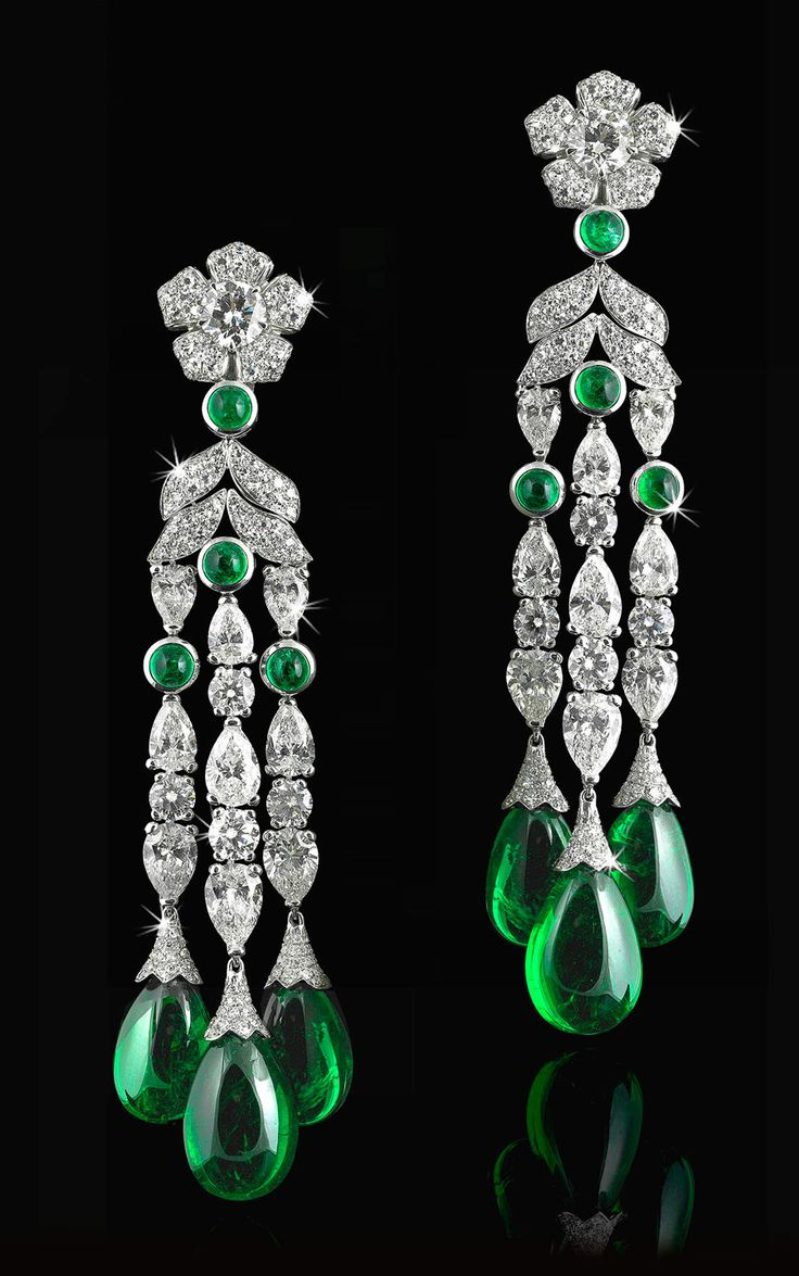Natural Colombian Cabochon-Cut Drop Earrings With White Diamonds. Total Emerald Weight 52,67cts; Total Diamond Weight 18,36ct.