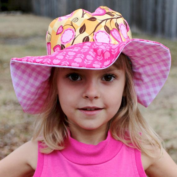 Little girl's sun hat wide brimmed uv protection by littlebabybat