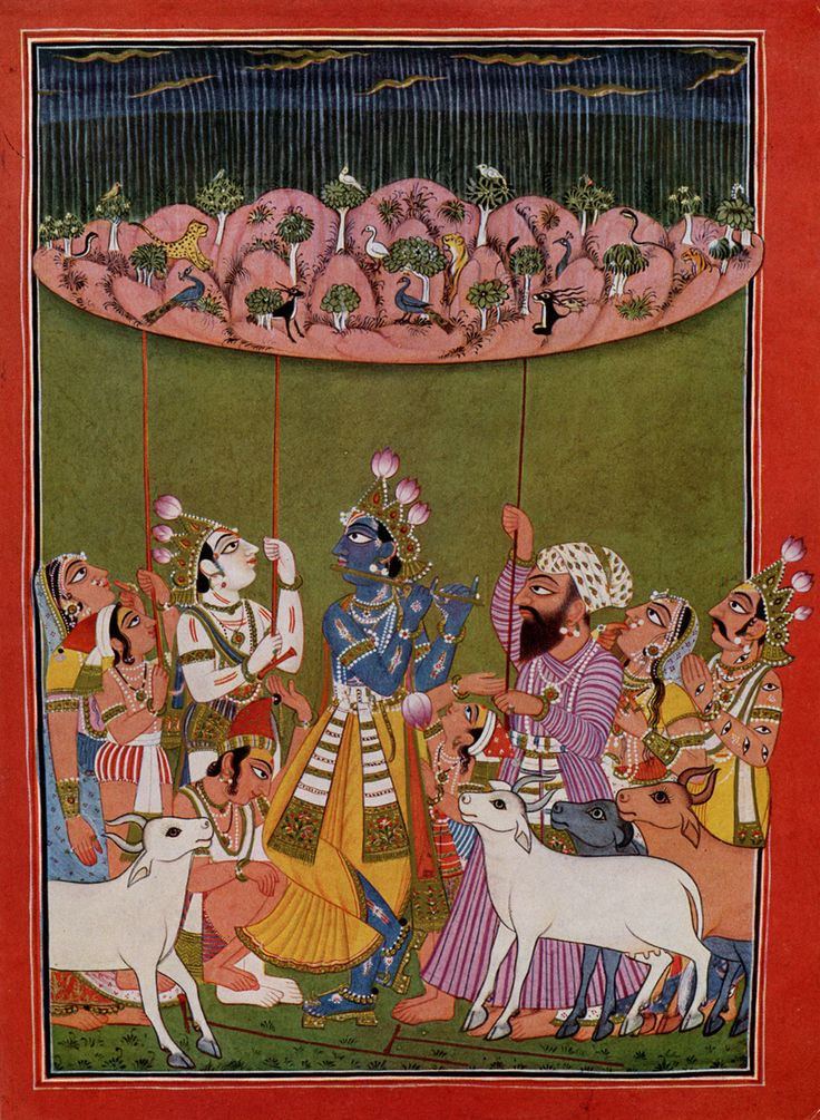 Krishna Lifting the Mountain Govardhana,   illustration to the Bhagavata Purana, Tira-Sujanpur, early 18th century. (Basohli Paintings evolved in the 17th and 18th centuries as a distinctive style of painting fusing Hindu mythology, Mughal miniature techniques, and the folk art of the local hills. The painting style derives its name from the place of its origin—the hill town of Basohli. . . in the state of Jammu & Kashmir.)