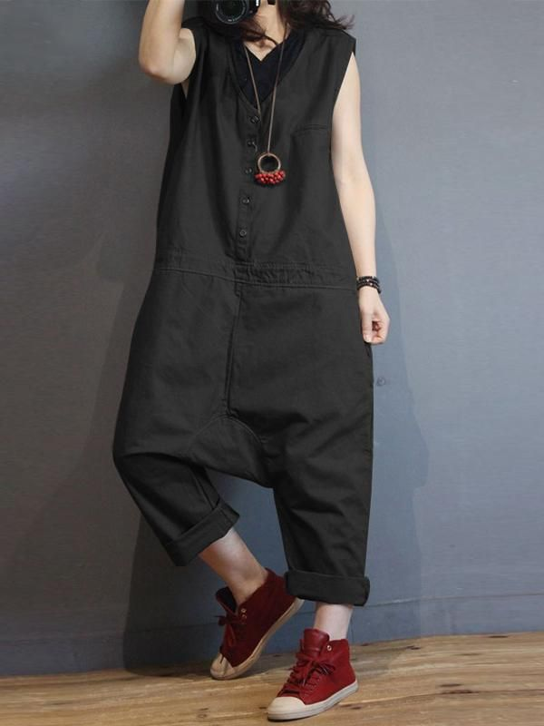 Overalls Dungarees Summer Playsuits Loose Casual Fashion Button Women Jumpsuit Cotton Linen Short Sleeve Holiday Trousers Solid Women's Clothing