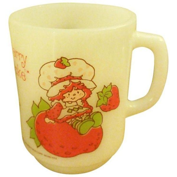 "Anchor Hocking Fireking ""Strawberry Shortcake"" Milk Glass Coffee Mug ($20) ❤ liked on Polyvore featuring home, kitchen & dining, drinkware, mugs & cups, anchor hocking drinkware, anchor hocking cups, anchor hocking coffee mugs, milk glass coffee mugs and anchor hocking mugs"