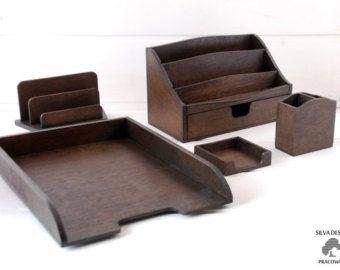 Holz Schreibtisch Set, 5 Teile, Organizer