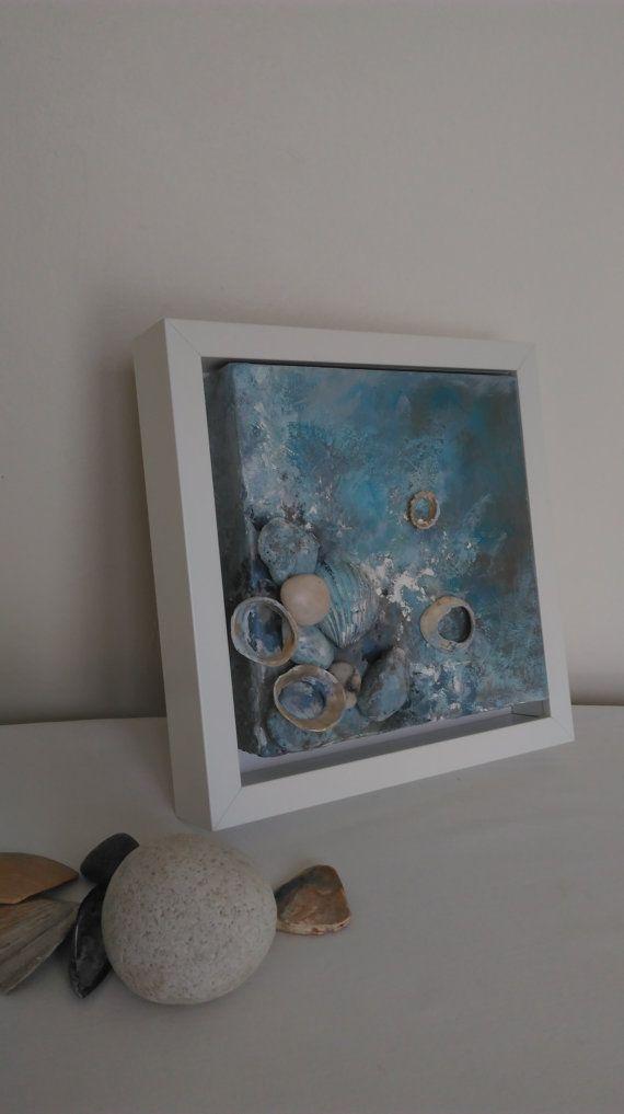 Hedendaagse kunst, zee verhaal (8 x 8), Home decor, Canvas art, originele kunst aan de muur strand, Mixed mediakunst, Seashell decor, strand, steen, liefde...