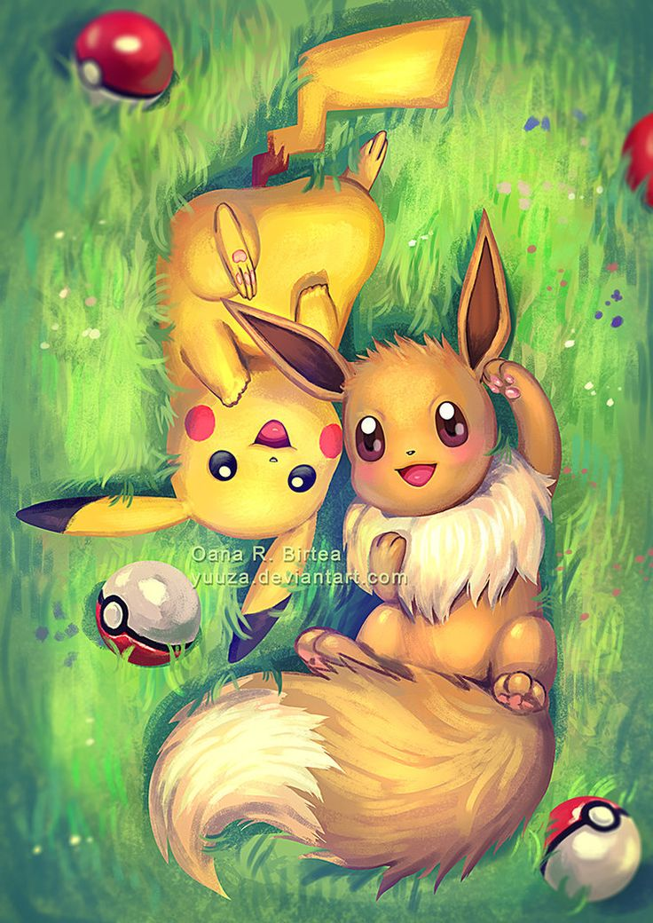 Eevee and Pikachu by Yuuza.deviantart.com on @DeviantArt