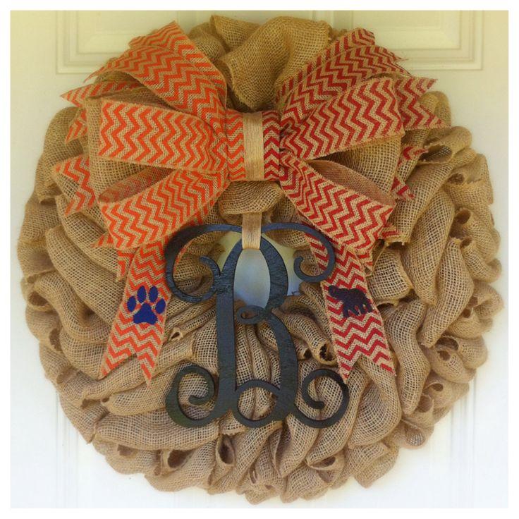 Auburn vs Alabama House Divided Burlap Wreath with Vine Monogram