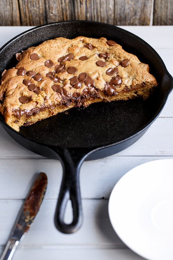 Cafe Delites | Nutella Stuffed Deep Dish Chocolate Chip Skillet Cookie (Pizookie) | http://cafedelites.com
