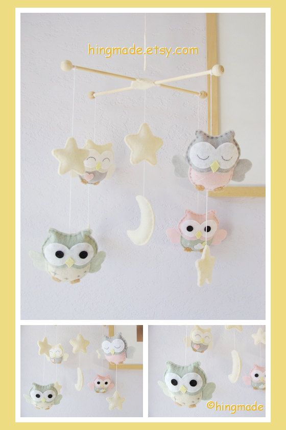 Baby Crib Mobile - Owl Mobile  - Baby Room Decor - Soft Pink Gray Ivory Sage Green theme (Custom Color Available)