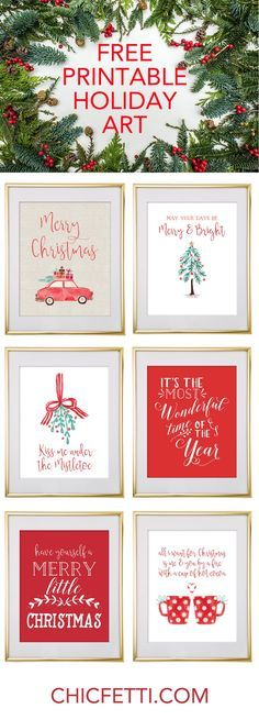 Free Printable Holiday Christmas Wall Art from /chicfetti/