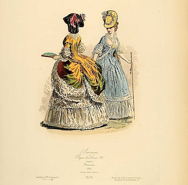The Lady in front wears a polonaise and bicorne hat over large curls; the other wears a décolleté robe à l'Anglaise. Both wear un-powdered hair and floral hat decorations.