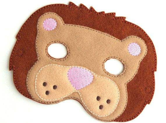 Kids Lion Mask Lion Costume Zoo Felt Mask Kids by BabyWhatKnots
