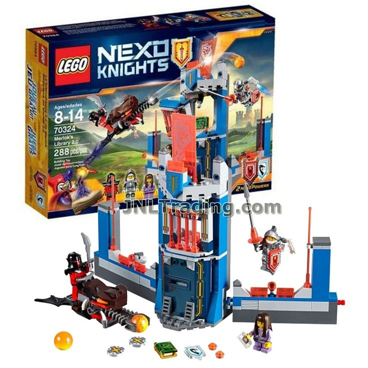 Lego Year 2016 Nexo Knights Series Set #70324 - MERLOK'S LIBRARY 2.0 with The Flame Bat Plus Lance Richmond, Ava Prentiss and Crust Smasher Minifigures (Total: 288 Pieces)