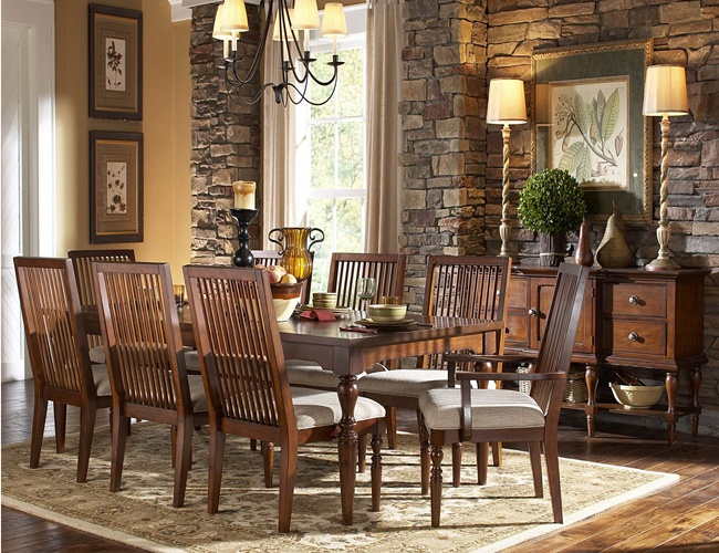 THE FURNITURE :: Transitional Style Dark Color Finished Dining Room Set U0027 Mission Bendu0027