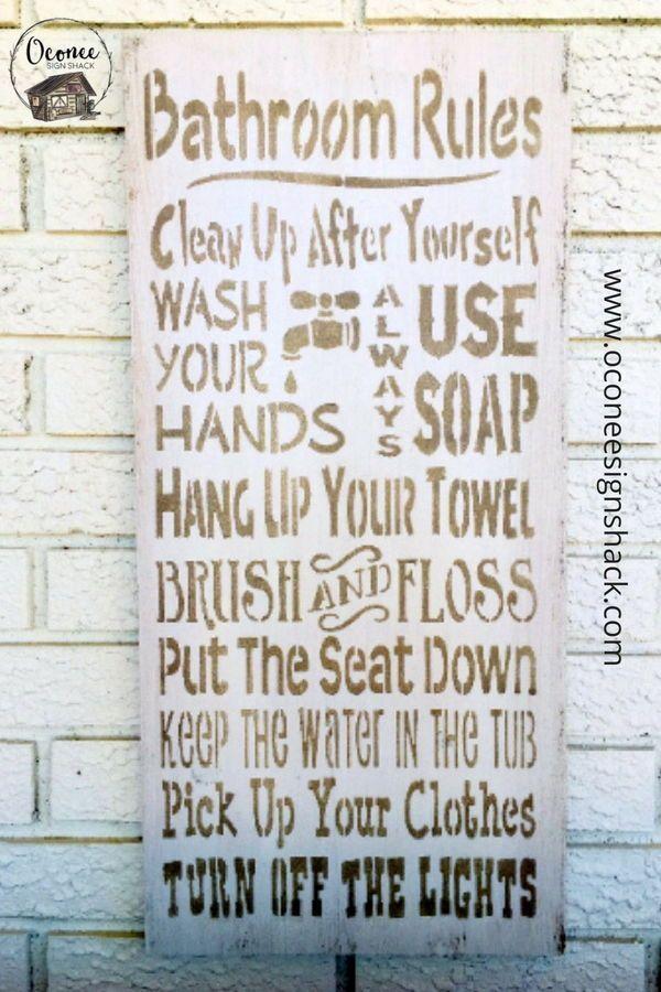 Outstanding Bathroom Rules Sign Bathroom Rules Bathroom Wood Sign Interior Design Ideas Clesiryabchikinfo