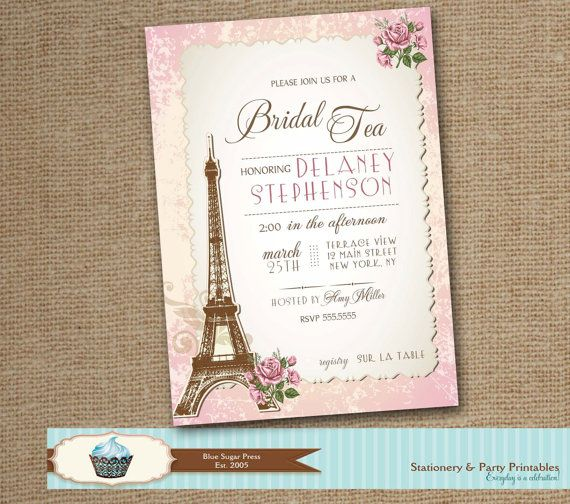 Paris Bridal Shower Invitation, Bridal tea party invitation, Shower, Bridal Parisian Invitations, digital file, Baby Shower Invitations