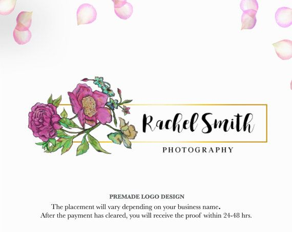 Premade Handpainted watercolor flower Logo  by MachartMeister