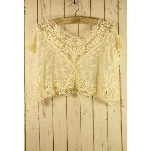 Chicwish Lace Crochet Smock ($34) ❤ liked on Polyvore featuring beige, beige lace top, macrame top, sleeveless smock tops, sleeveless tops and crochet lace top