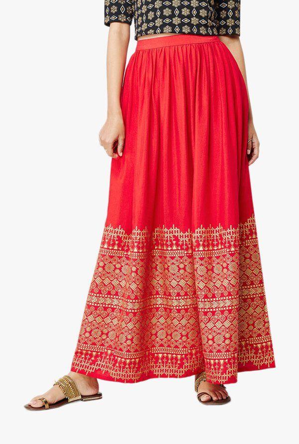 b8d3fdcca9 Global Desi Red Iris Foil Print Maxi Skirt -   799.60   Shorts ...