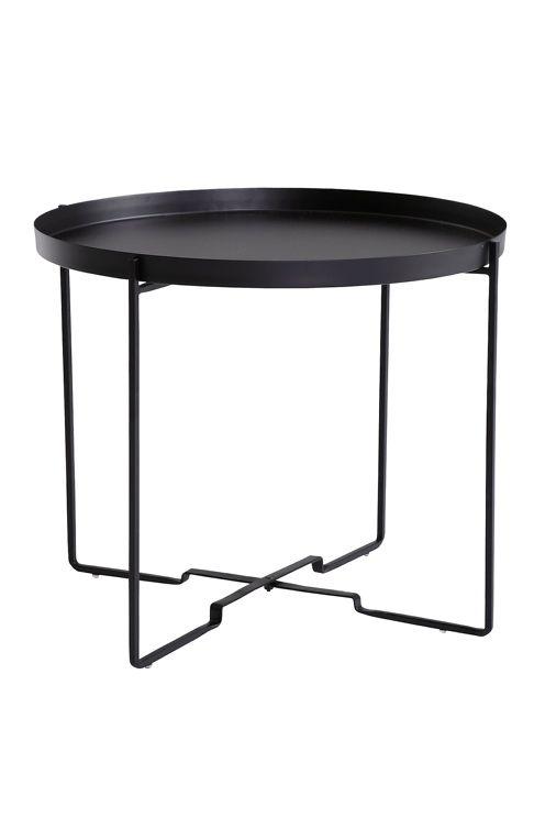 Soffbord med avtagbar bricka. Ihopfällbart stativ. Av metall. Ø 57 cm. H 48 cm. <br><br>