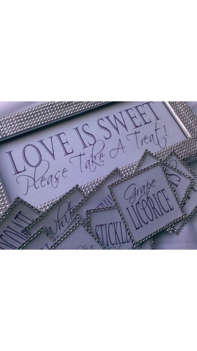 """Love is sweet, please take a treat"" purple candy buffet! (add #printables. www.customweddingprintables.com)"