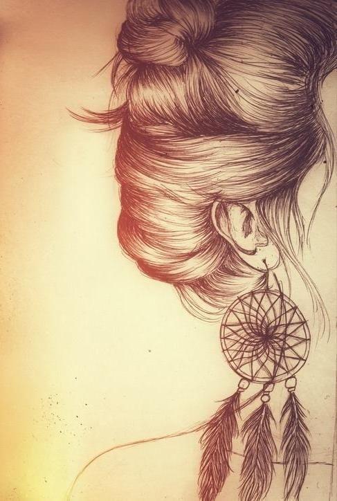 art, dreamcatcher, brincos, cabelo, filtro dos sonhos...lindo.