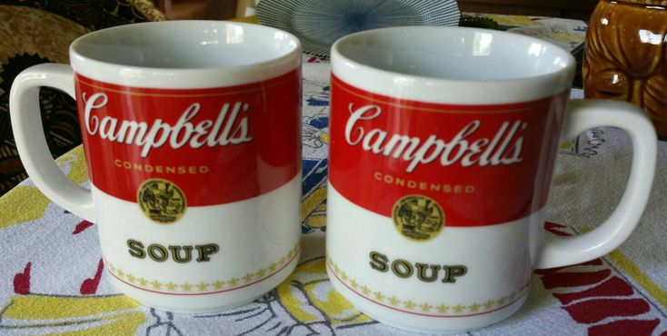"""Vintage """"Campbell's Soup""""  Corning Glass Works Porcelain Coffee Mugs  Made in Japan set of 2 by sigurmartinstudio on Etsy https://www.etsy.com/listing/530349462/vintage-campbells-soup-corning-glass"""