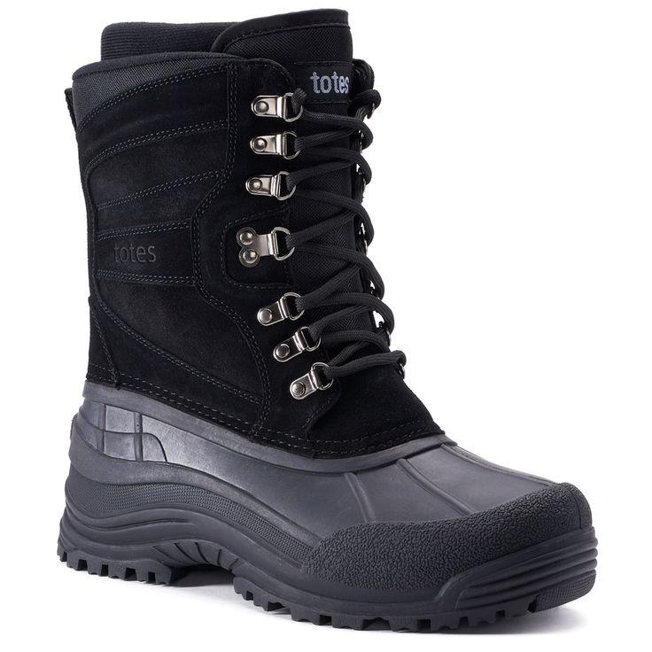 Totes Glaze Men's Waterproof Winter Boots, Size: medium (13), Black
