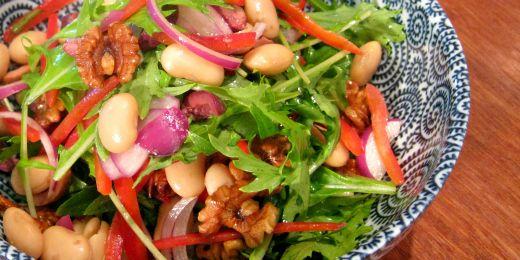 Butter bean and walnut salad