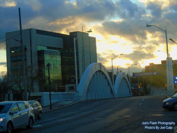 November 6, 2015 Sunset over Bridge street Belleville Ontario