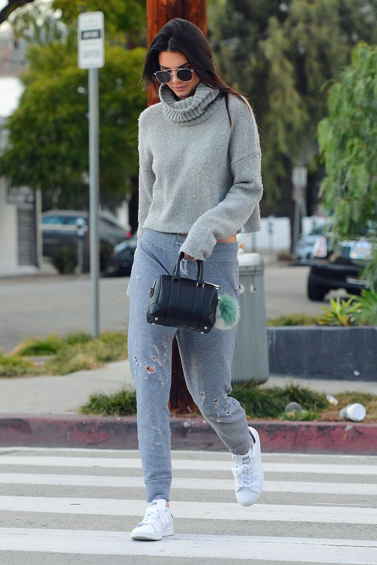 Jenner kicks off the weekend in the same way we all do: by swapping out our work-week clothes for an oversized knit and some seriously comfy sweatpants. We feel better about staying in our loungewear all day now.    - MarieClaire.com