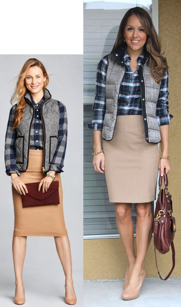 vest and leather skirt